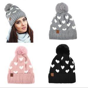 Ladies Knit Winter Hat W Fur Pom (3 colors)